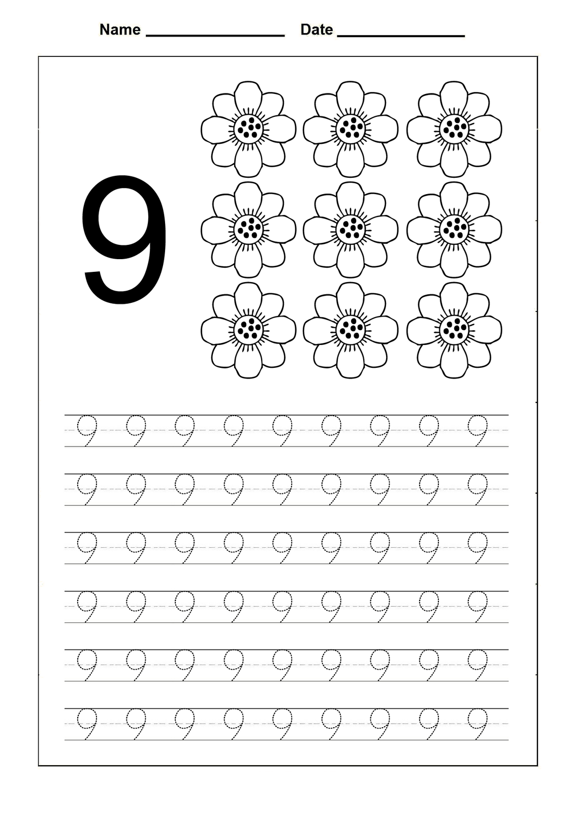 number 9 worksheet flower