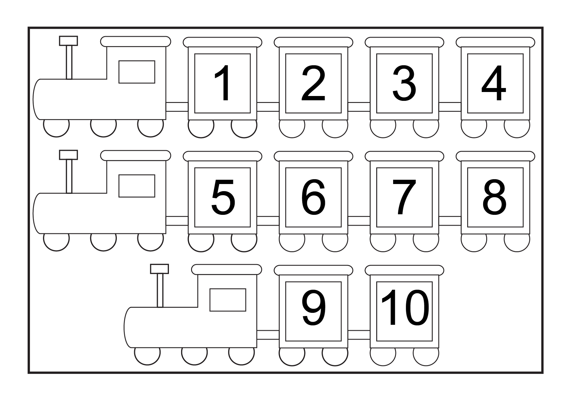 number chart 1-10 train
