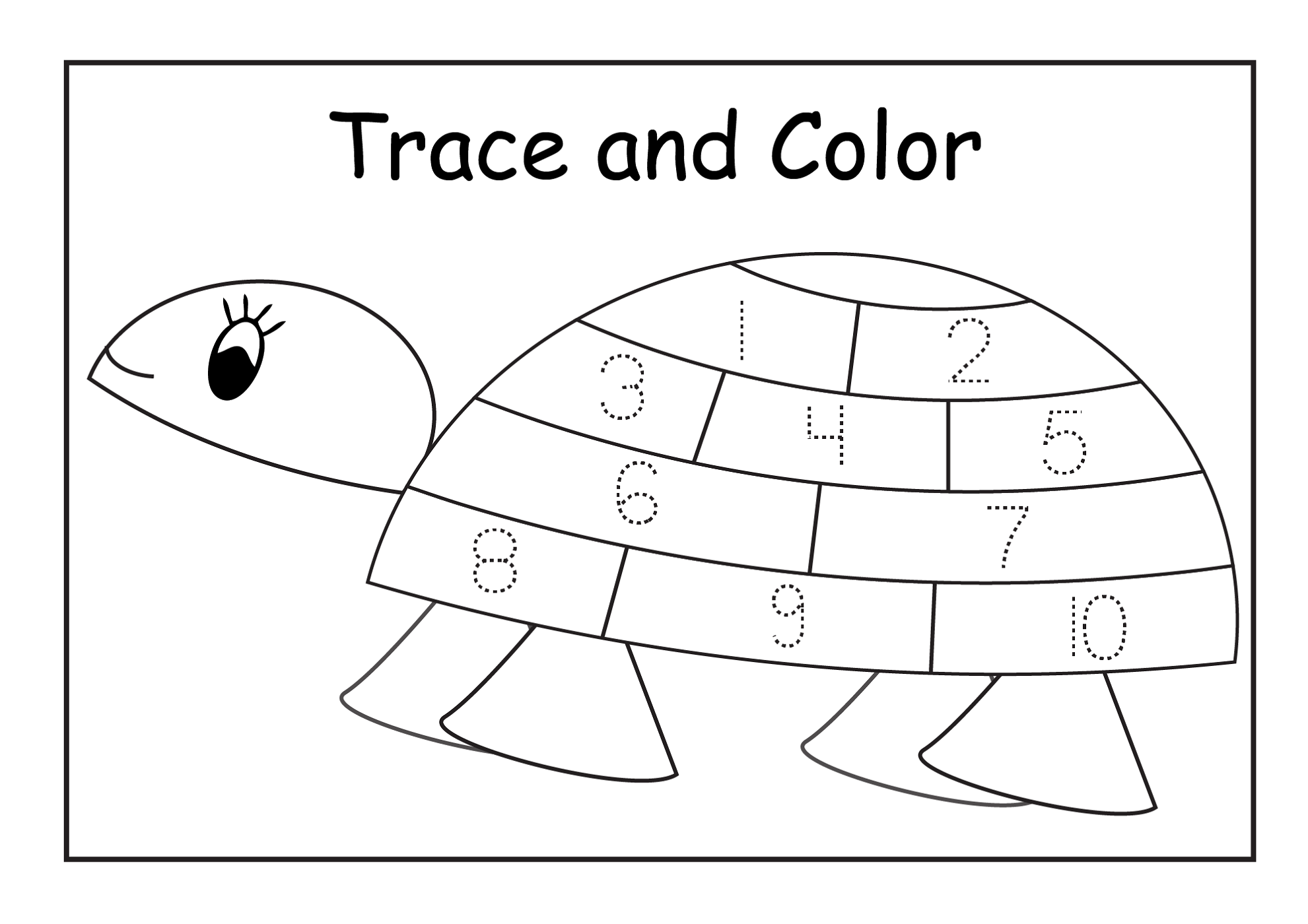 number chart 1-10 turtle