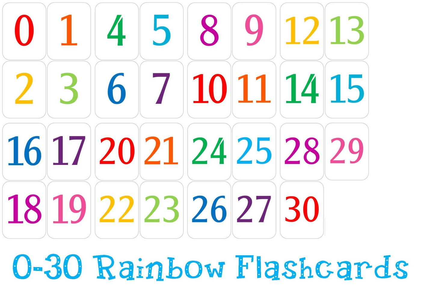 number chart 1-30 colorful