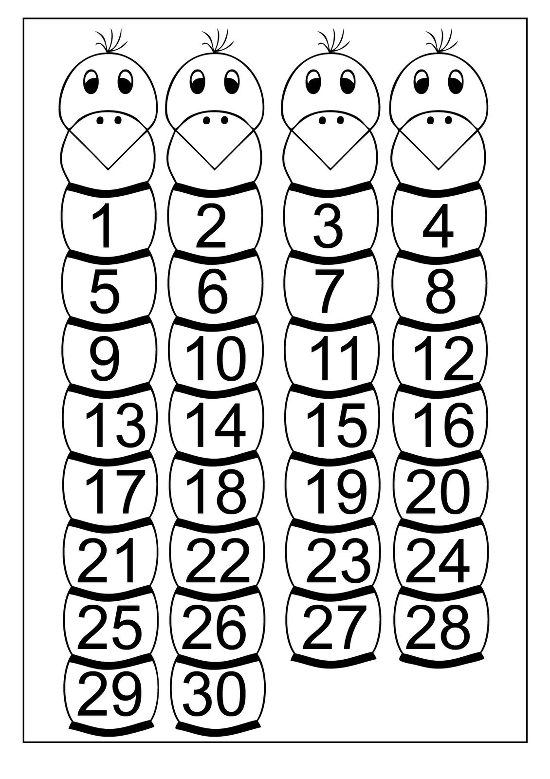 free printable number chart 1 30 activity shelter