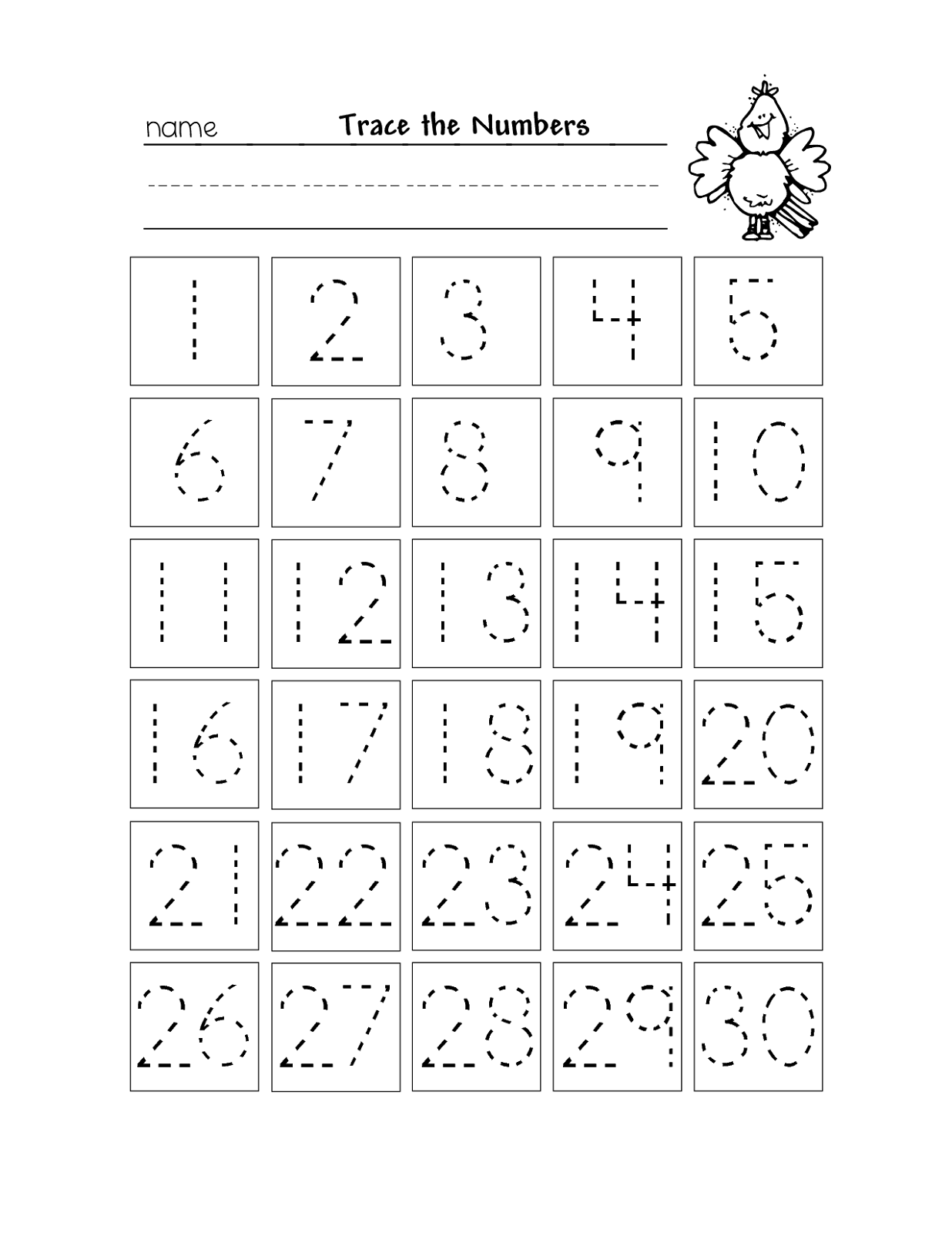 number chart 1-30 tracing
