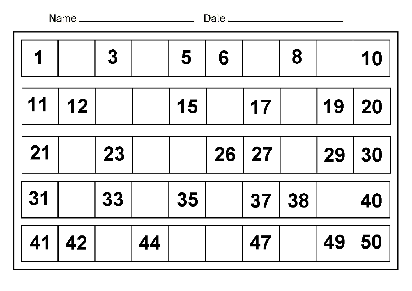 Counting worksheets 1 50