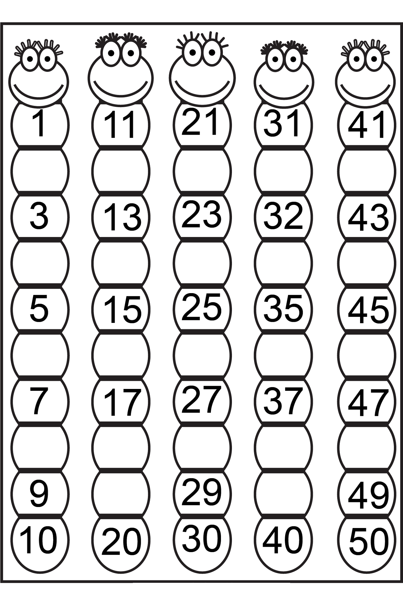 number chart 1-50 for math