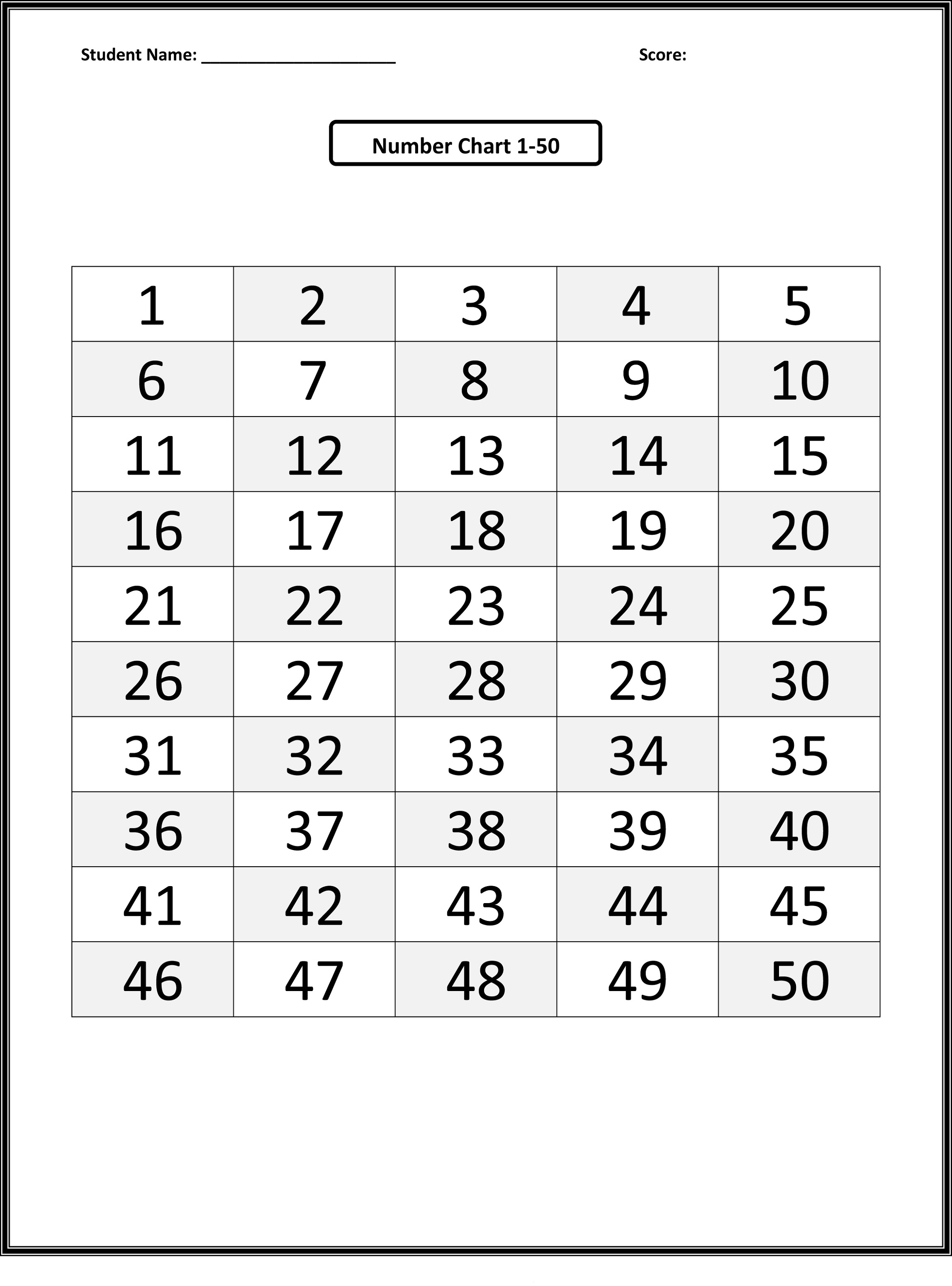 number chart 1-50 printable
