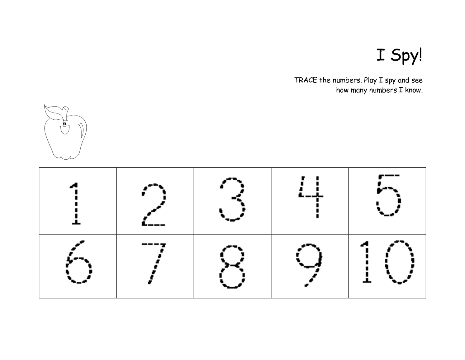 number practice sheet for tracing