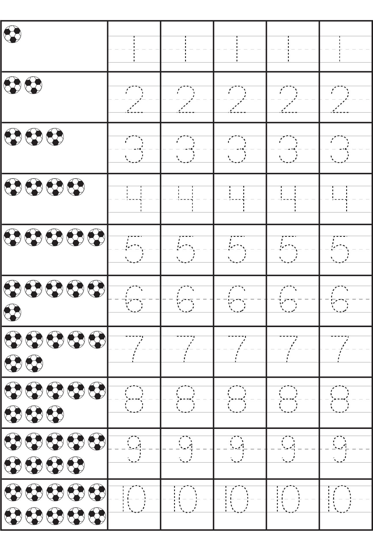 number practice sheet number 1-10