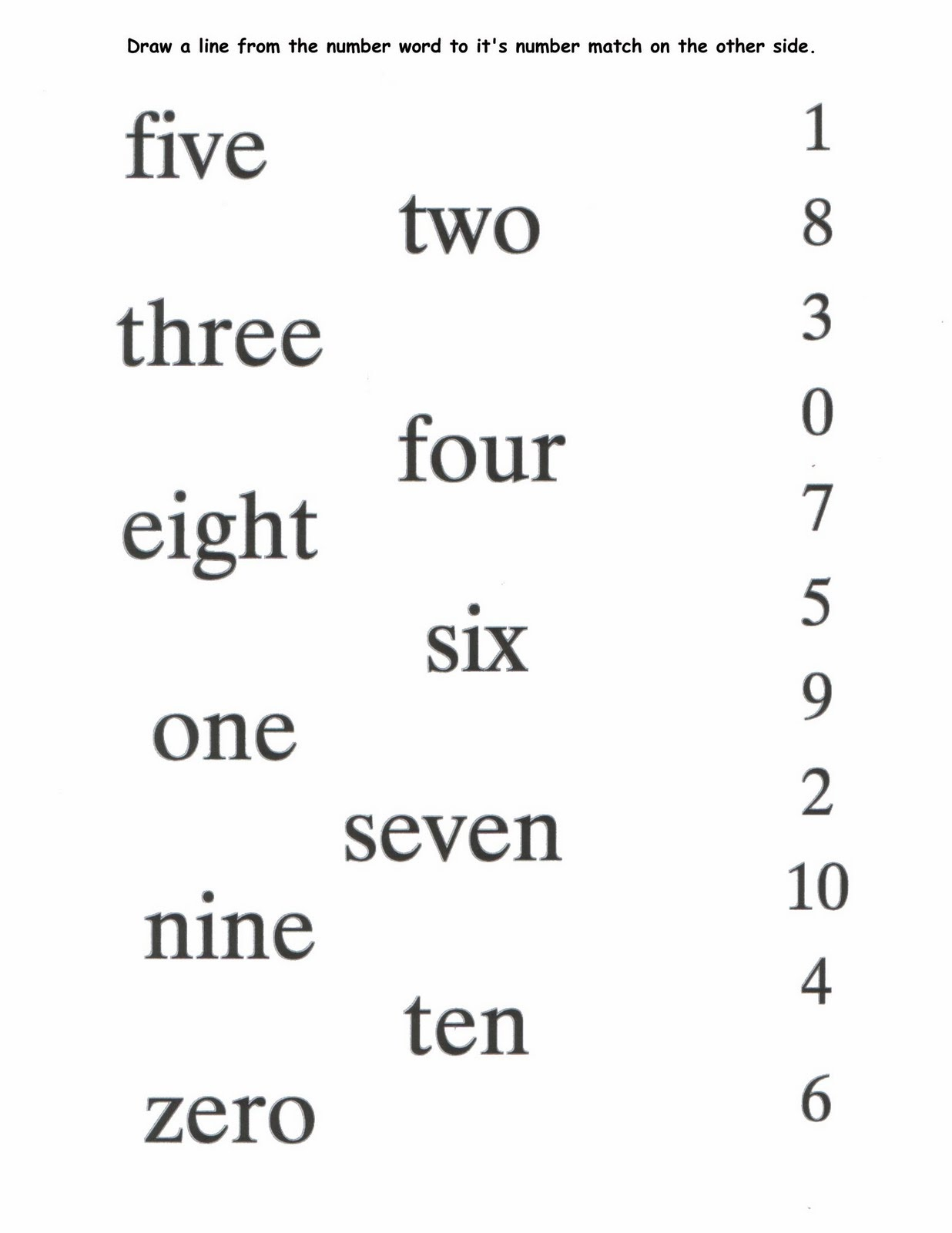 number words worksheet template