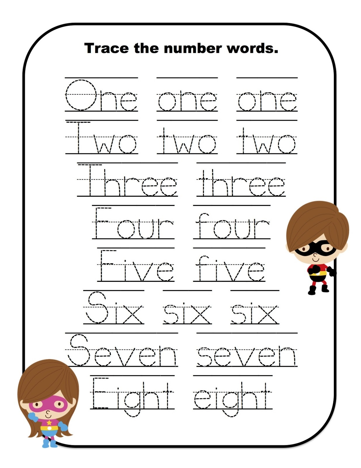 number words worksheet tracing