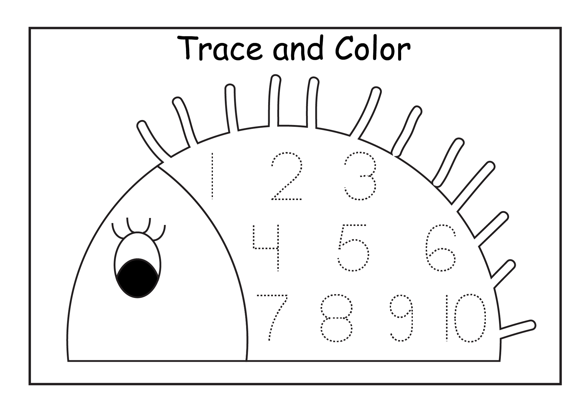 numbers 1-10 worksheets for coloring