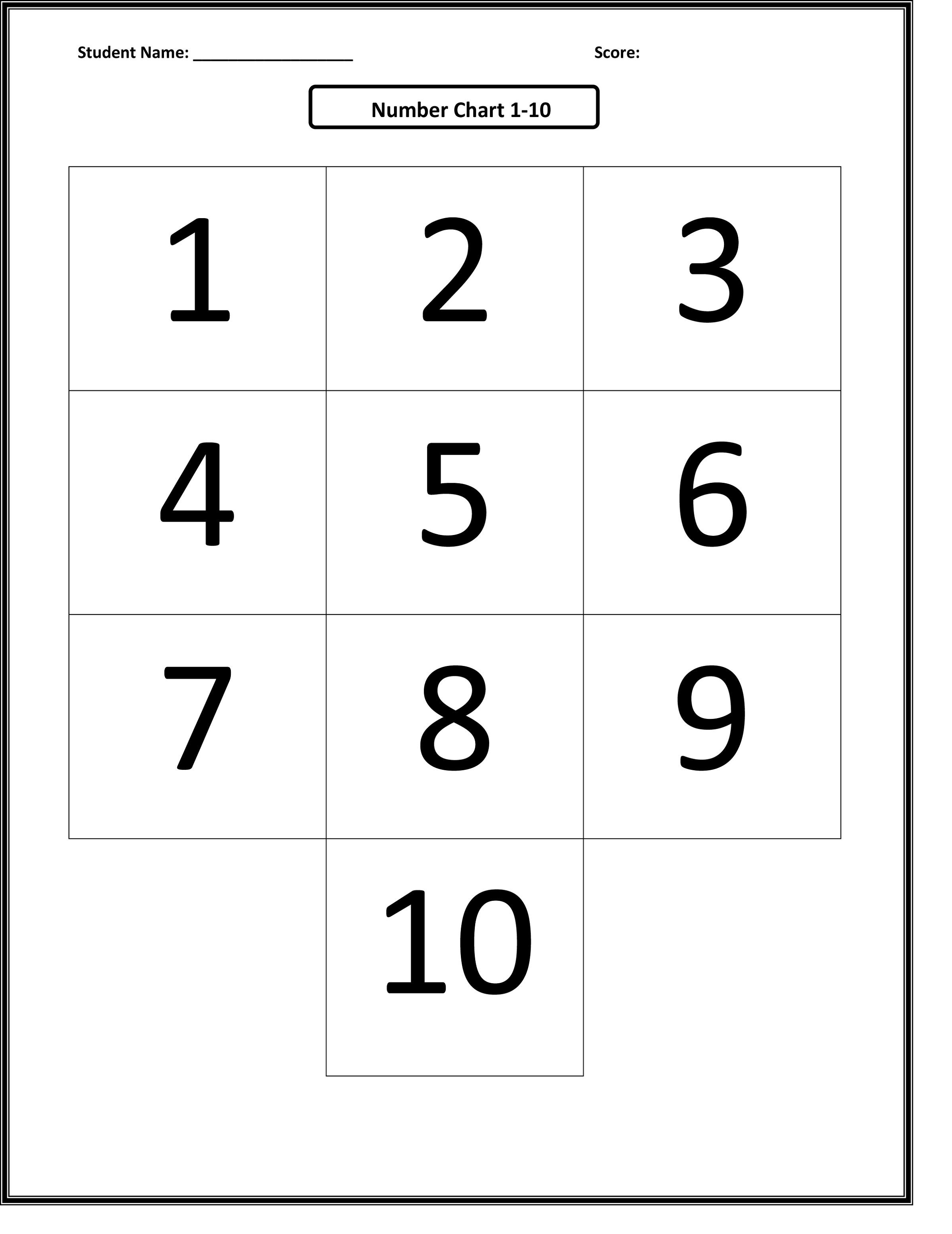 numbers 1-10 worksheets printable