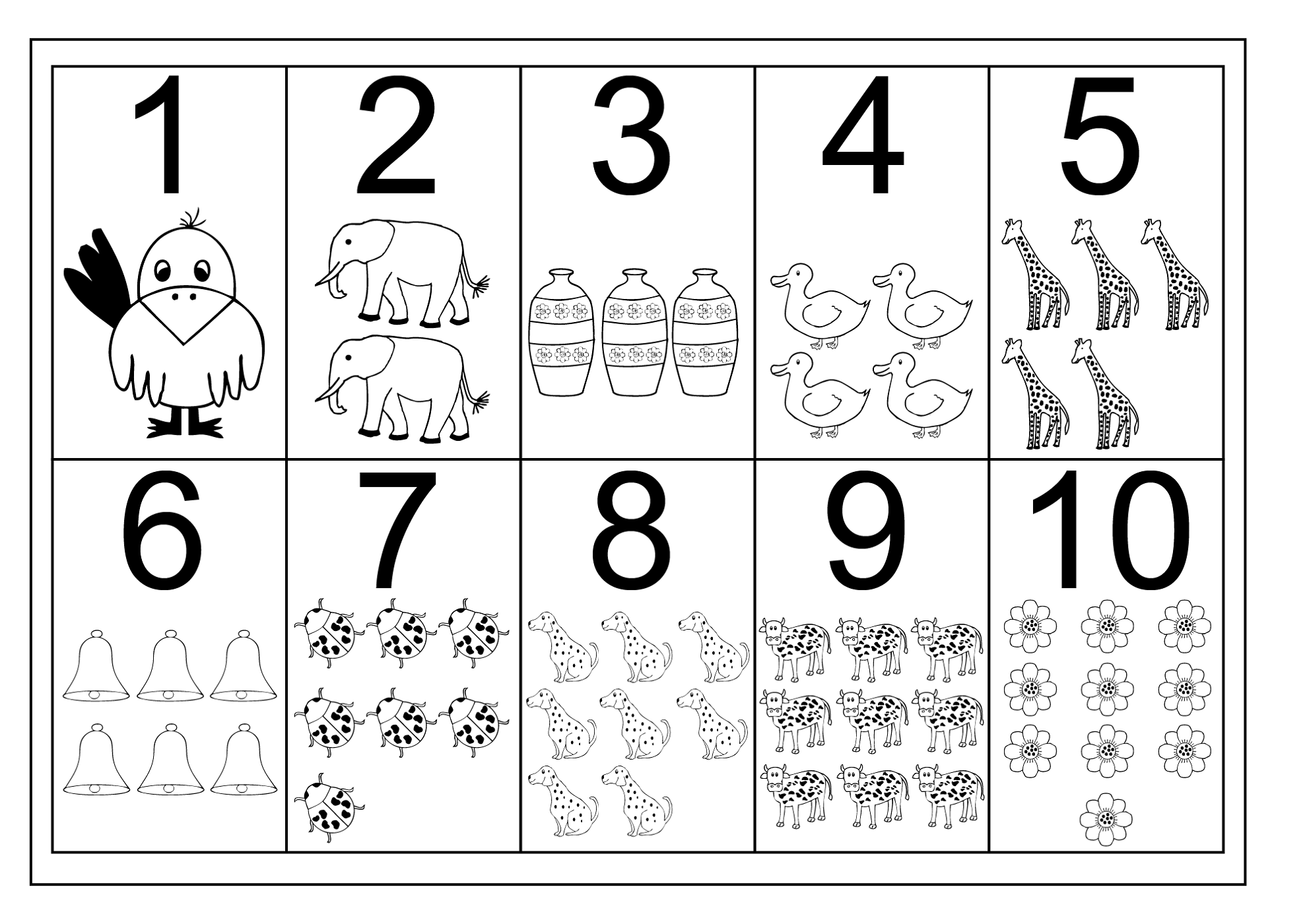 numbers 1-10 worksheets with pictures