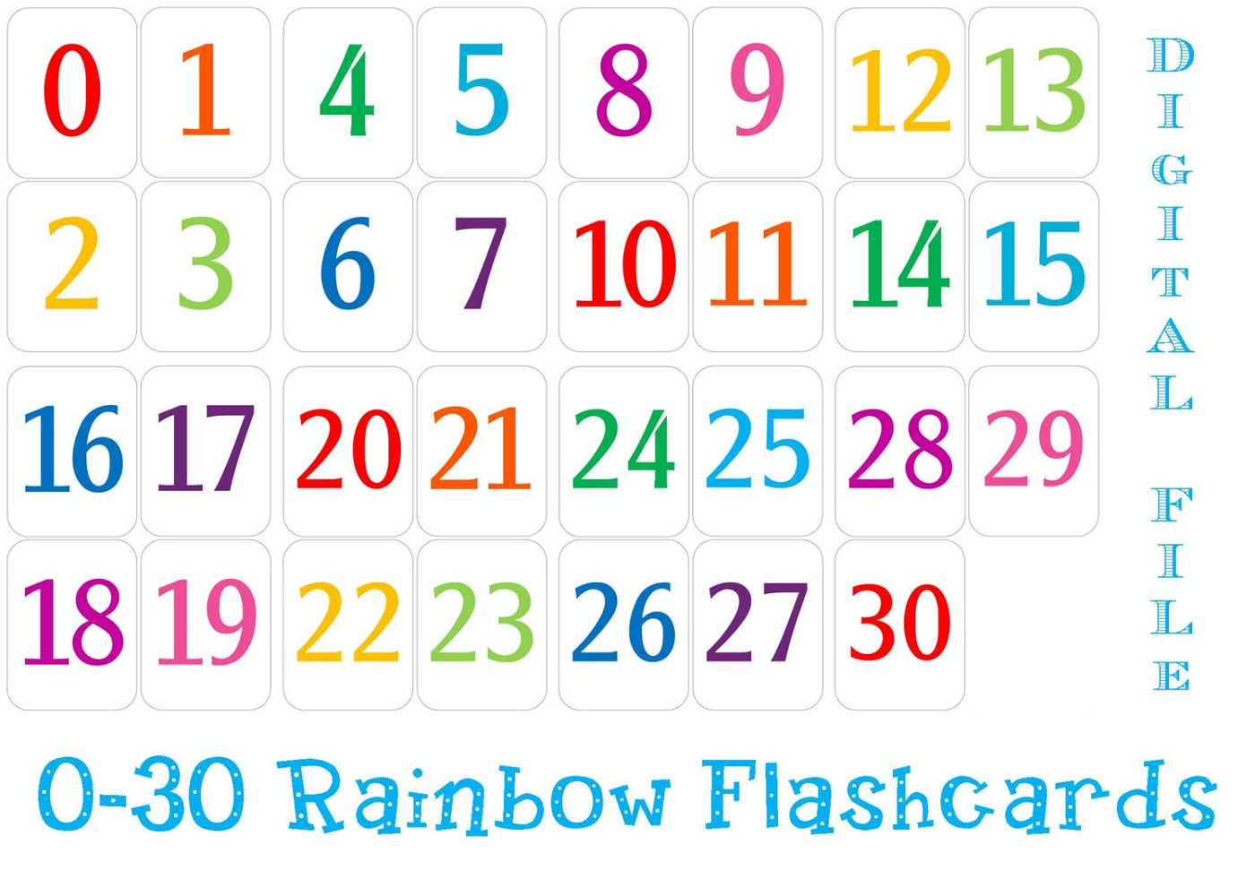 numbers 1-30 worksheet colorful
