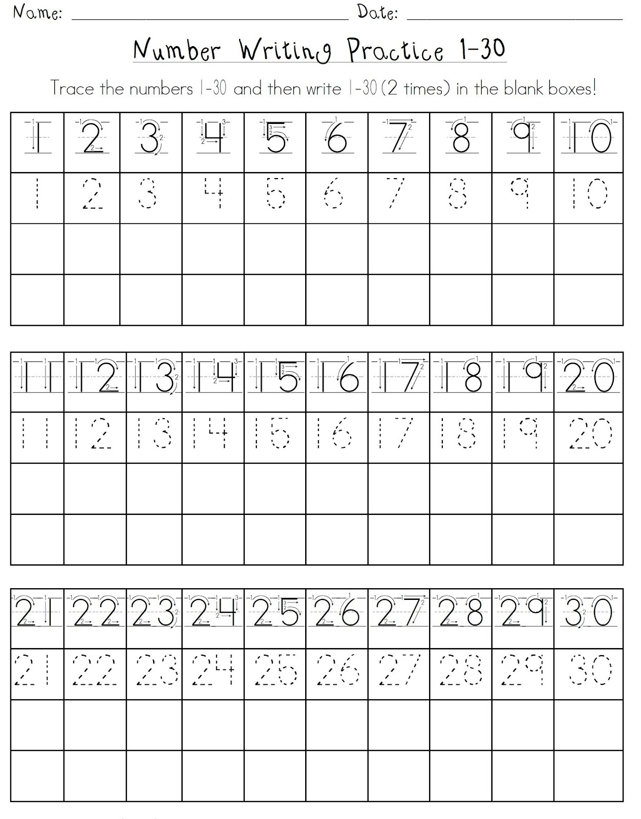 numbers 1-30 worksheet for school