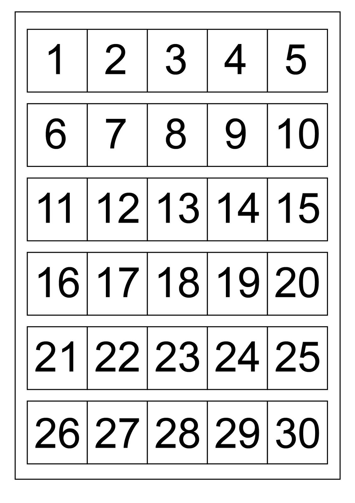 numbers 1-30 worksheet to learn
