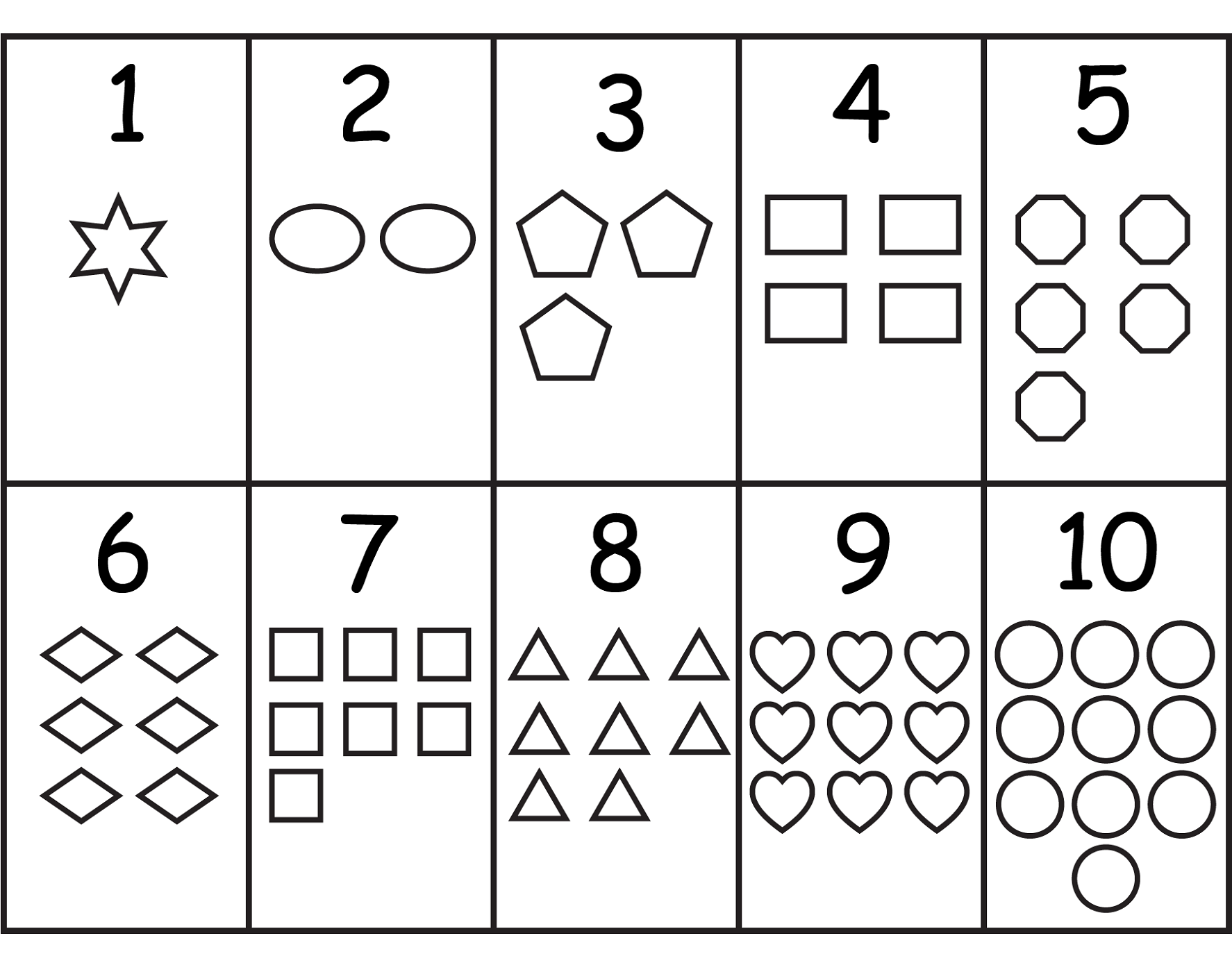 numbers and shapes for school