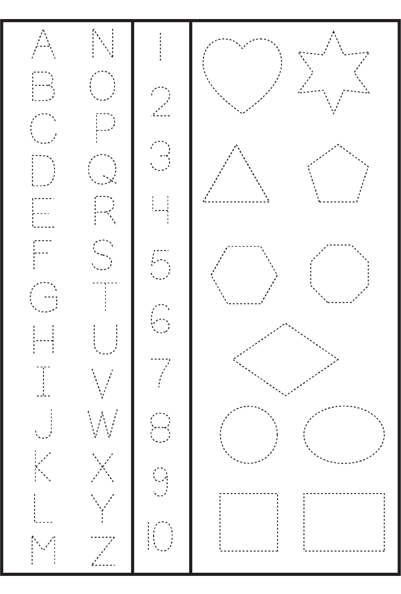 numbers and shapes tracing
