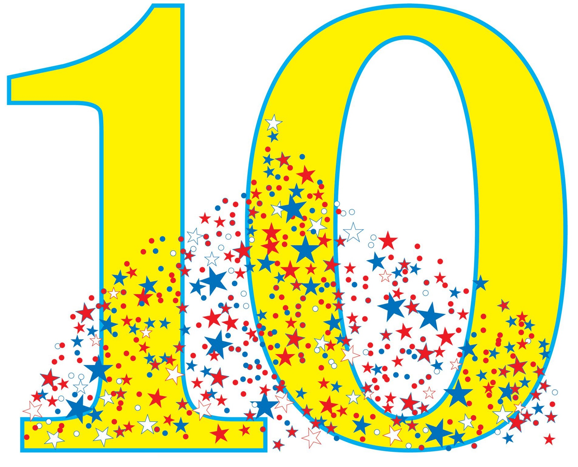 picture of the number 10 colorful