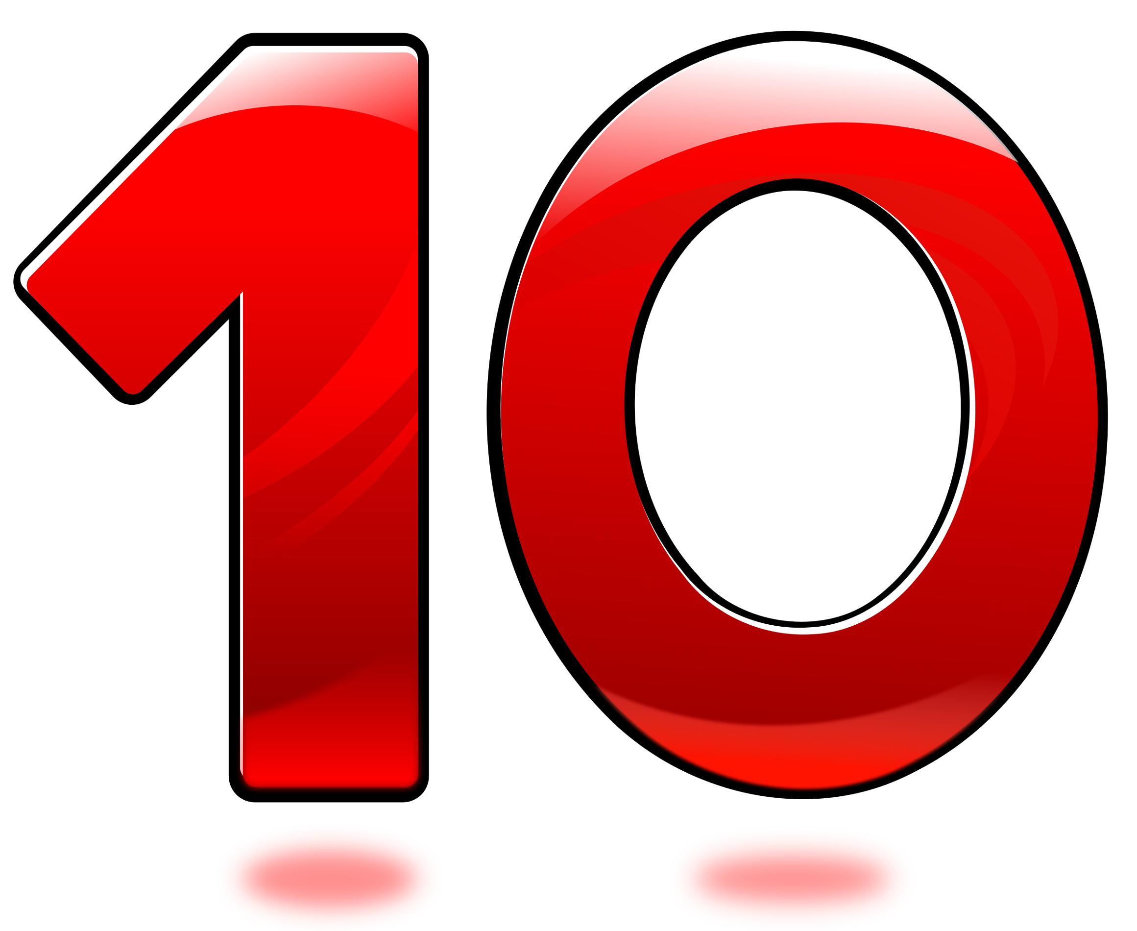 picture of the number 10 red