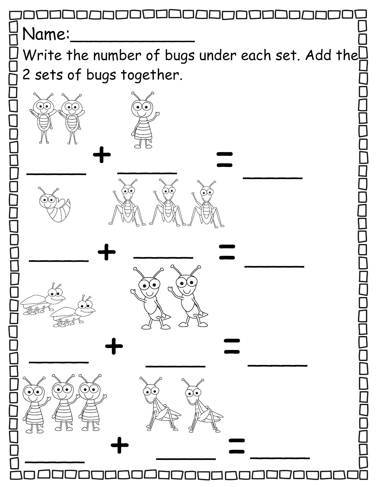 Free printable pre kindergarten math worksheets