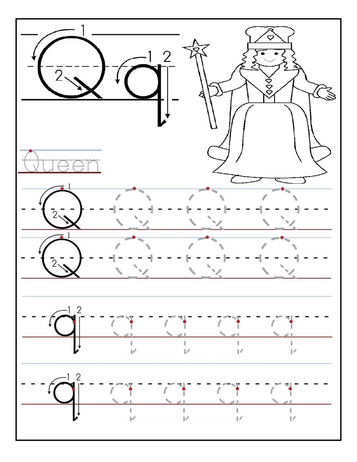 pre-alphabet-worksheets-queen Queen Worksheet For Pre on prefixes re, writing shapes, printable letter, tracing shapes, grade printable, algebra fractions, printable matching,