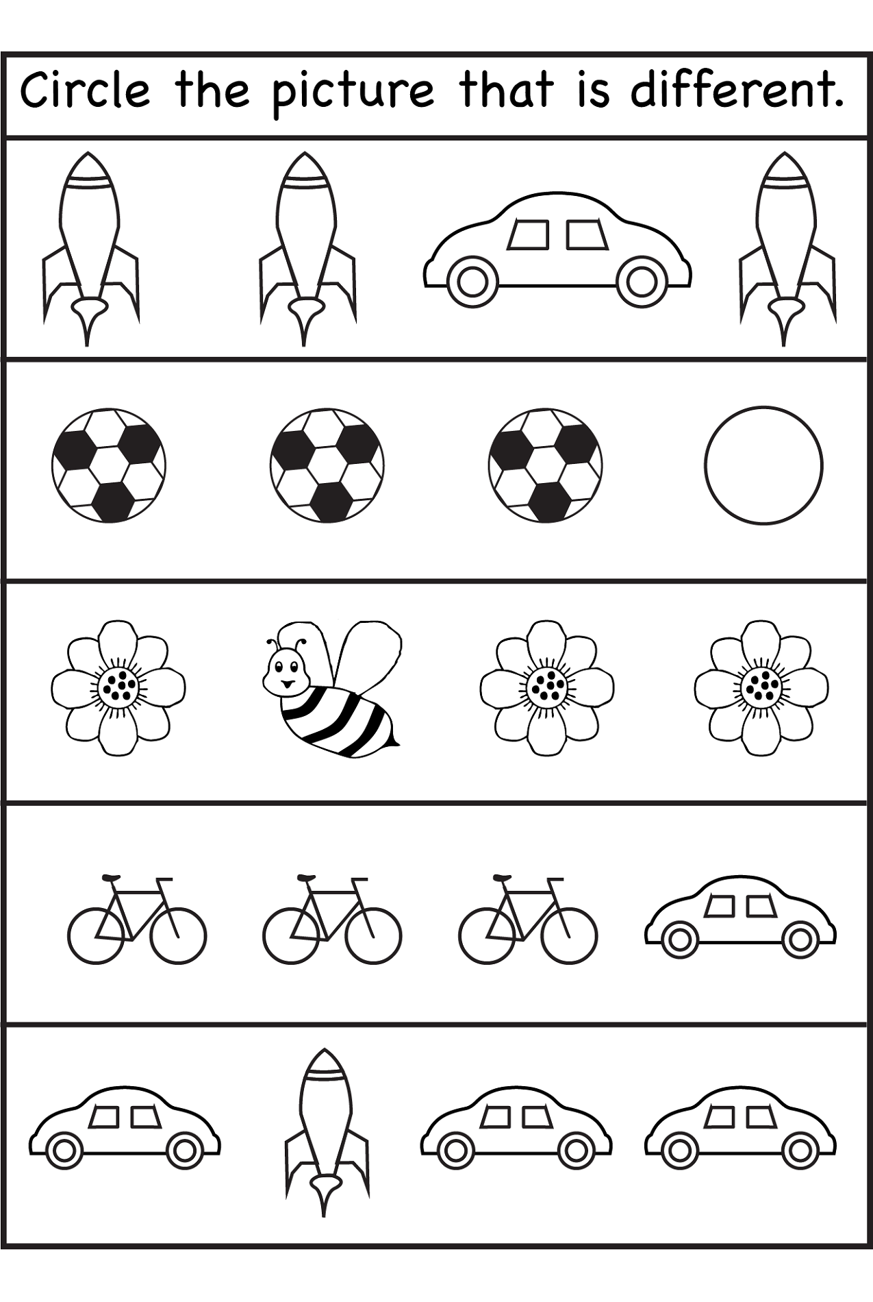 same different worksheets pictures