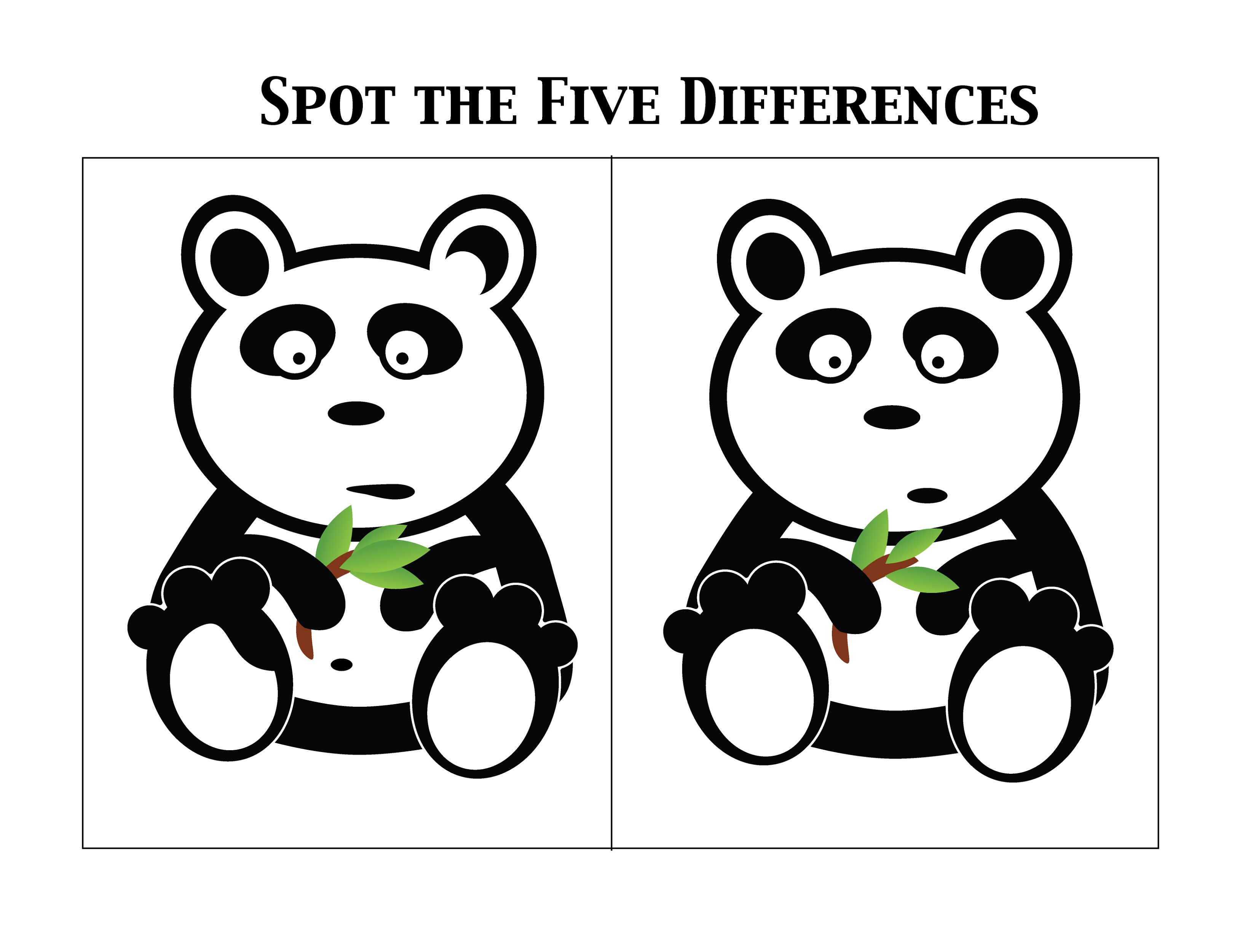 spot the difference worksheets panda