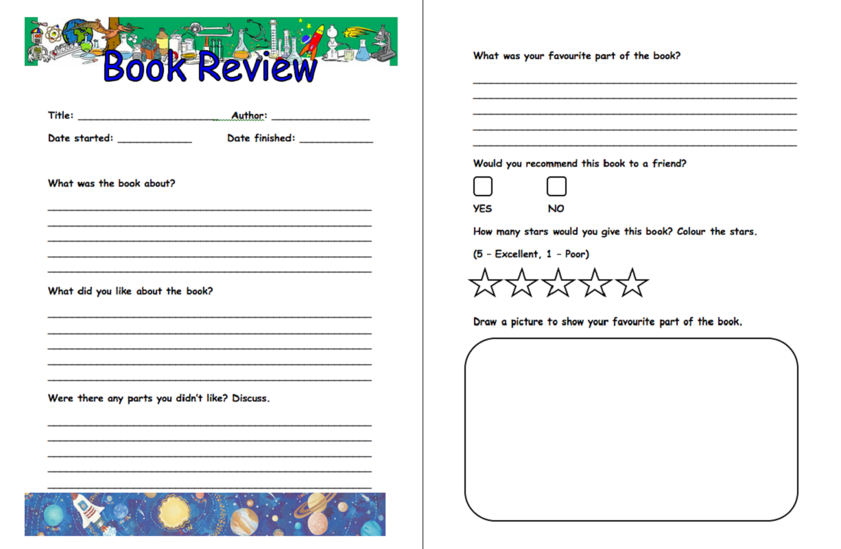 templates for kids book review