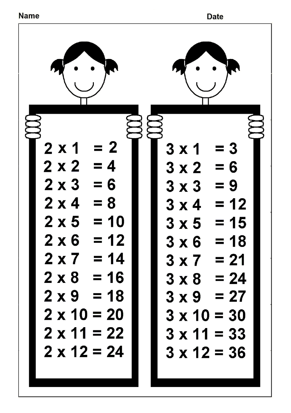 time table chart for math