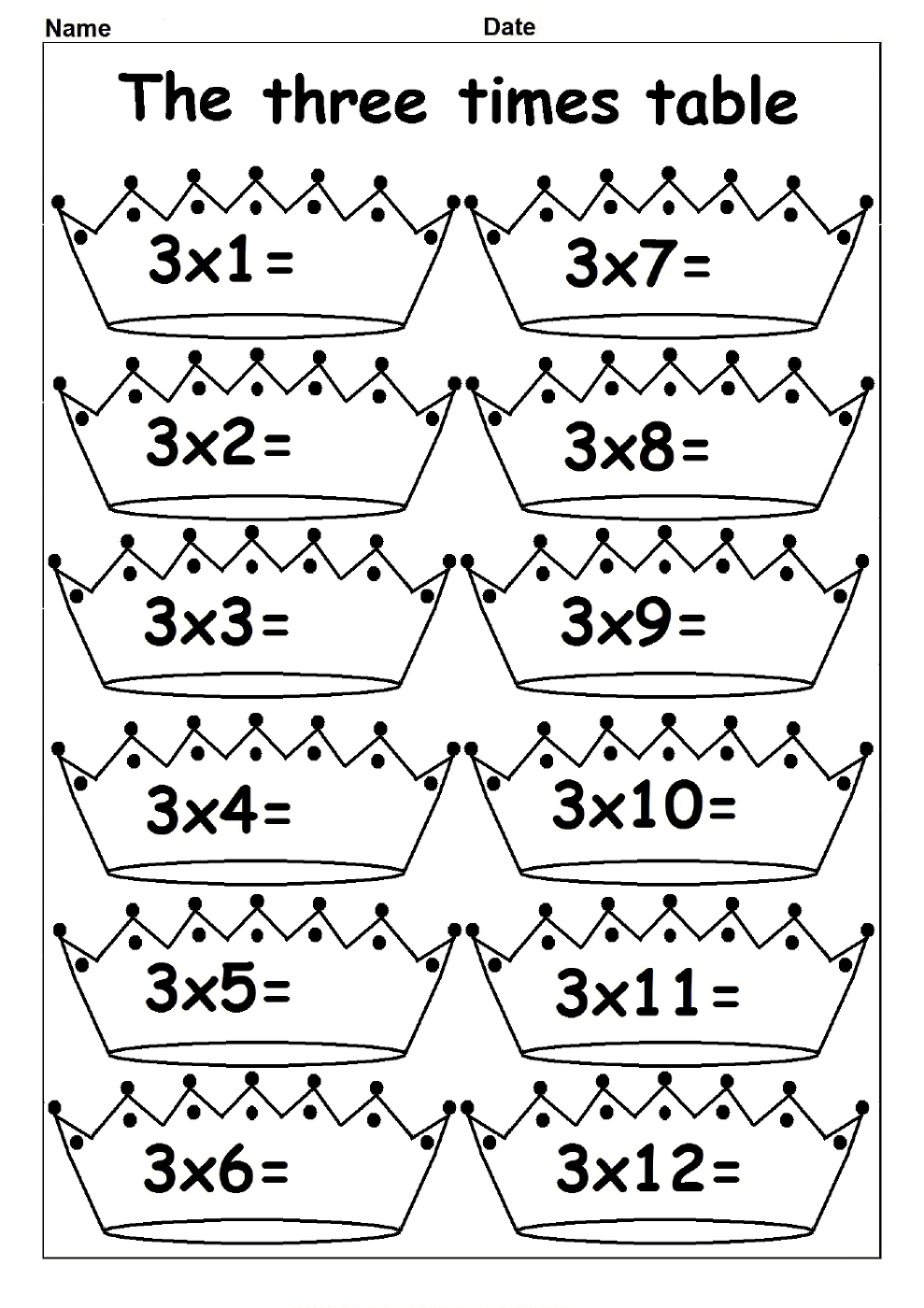 times table worksheets three