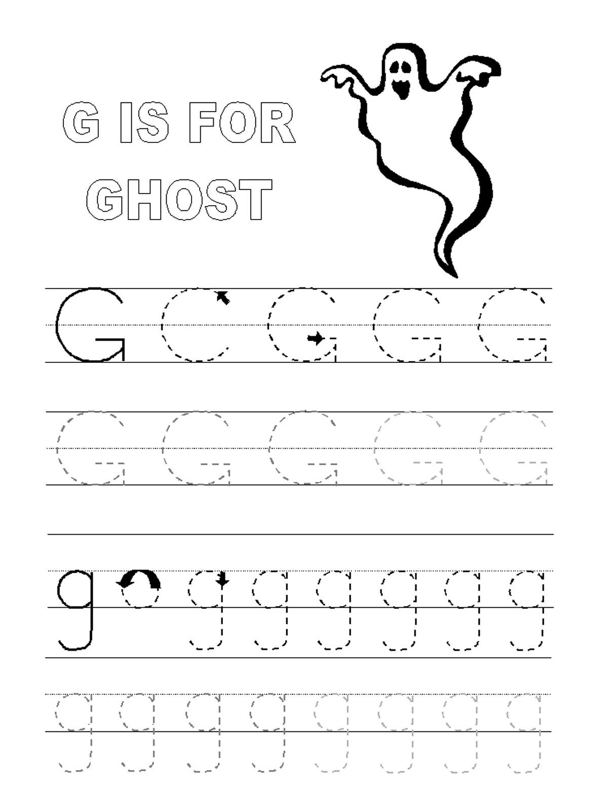 Printables Letter G Worksheets trace letter g worksheets activity shelter ghost