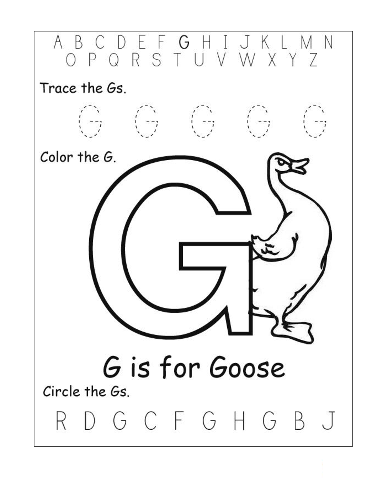 Printables Letter G Worksheets trace letter g worksheets activity shelter goose