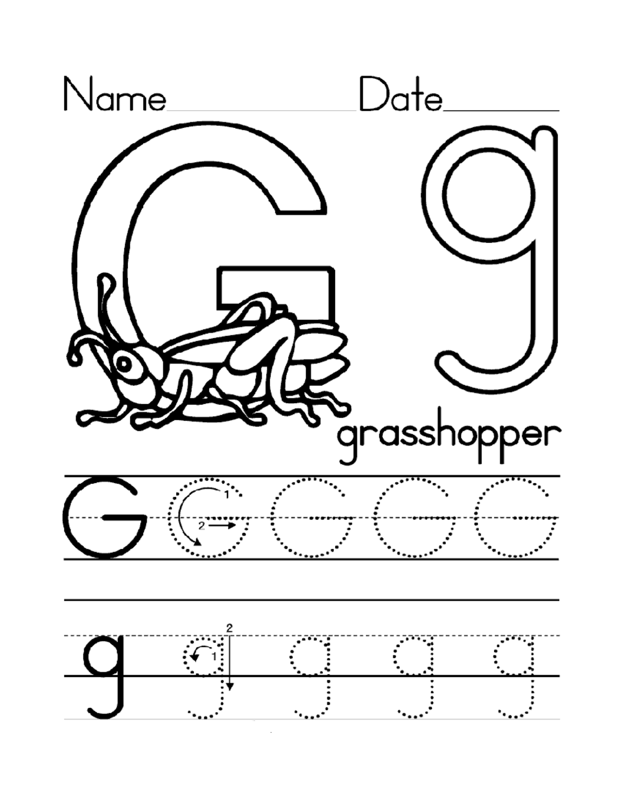 Printables Letter G Worksheets trace letter g worksheets activity shelter grasshopper