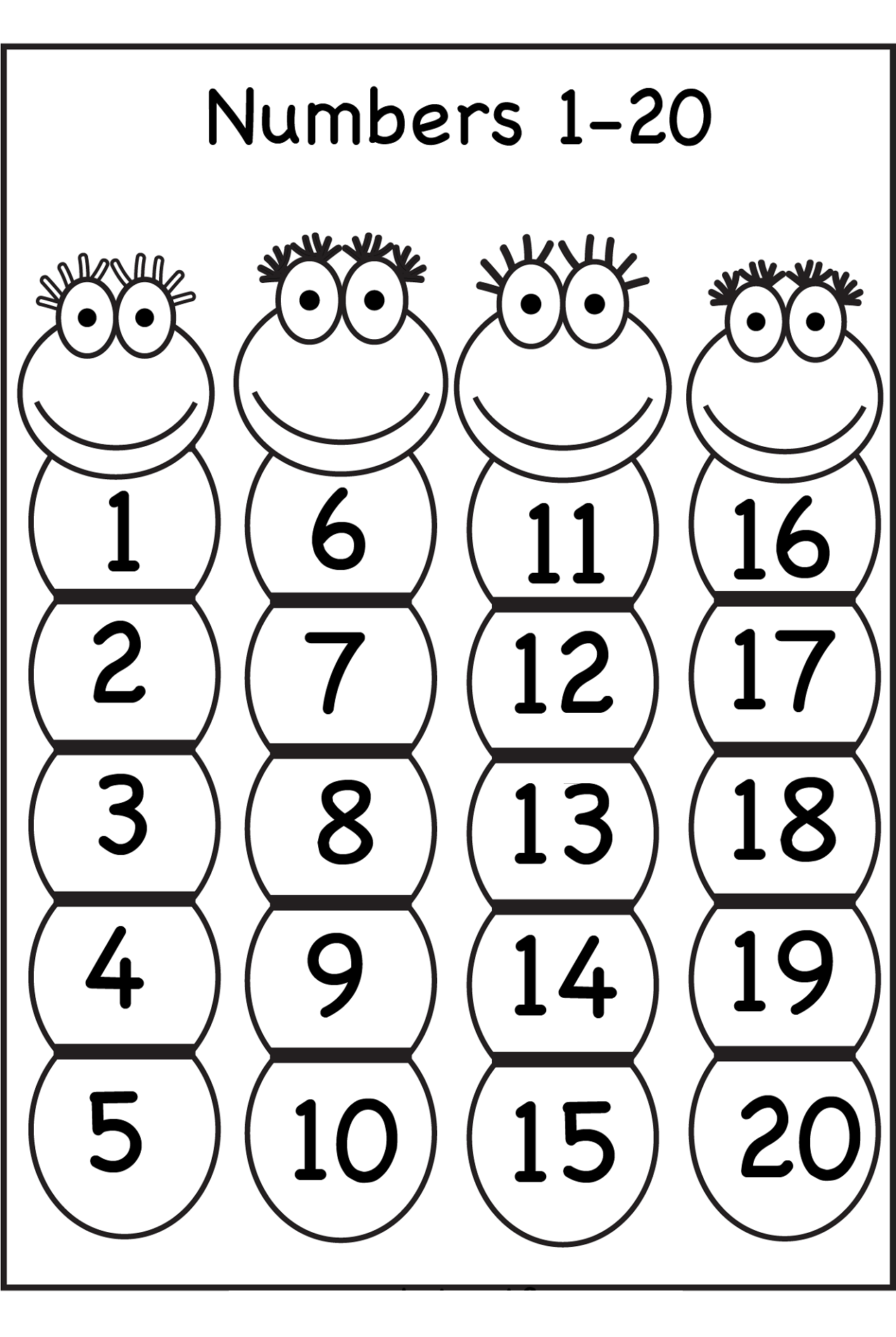 Trace Number 120 Worksheets – Numbers 1-20 Worksheets for Kindergarten