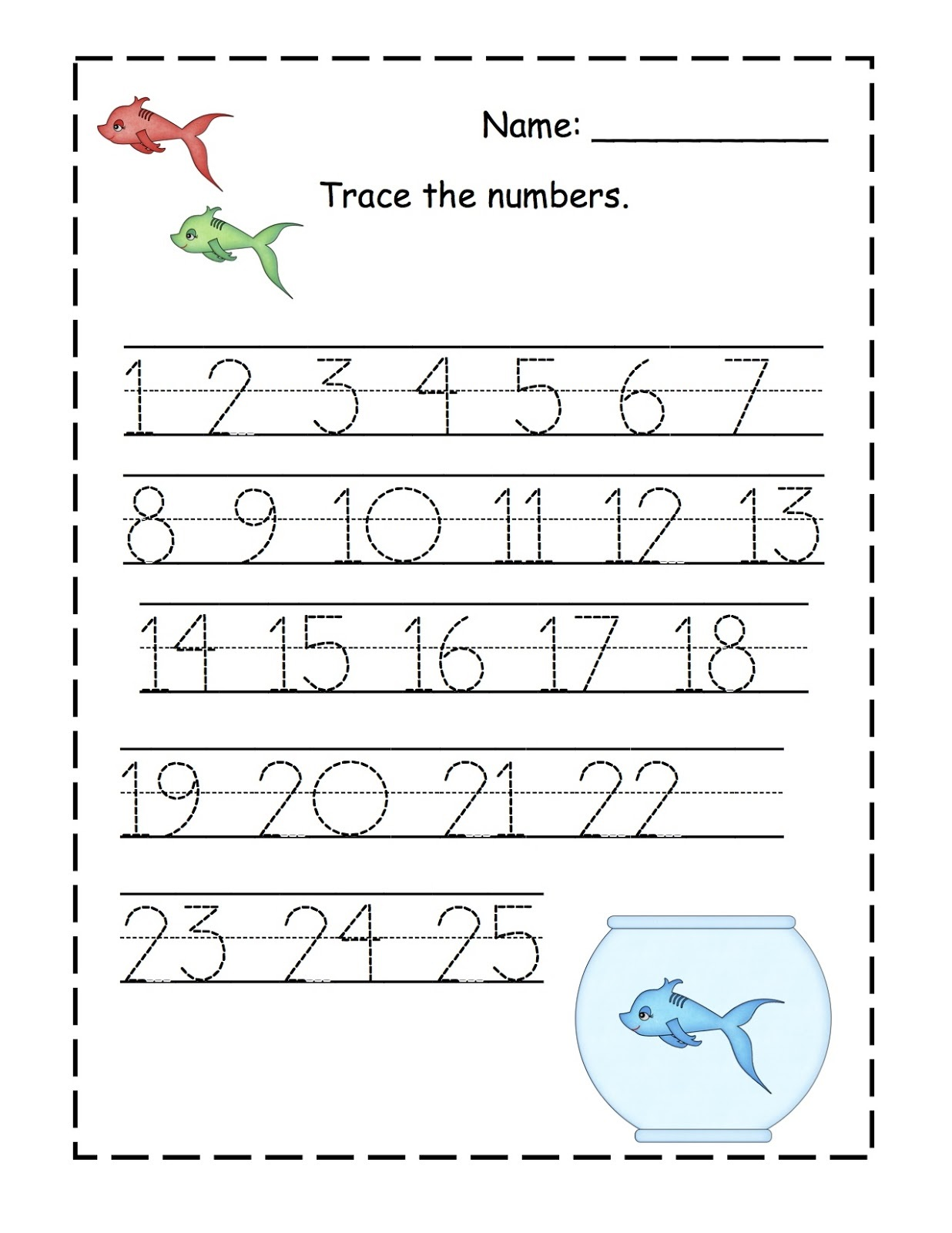 trace numbers 1 20 for children