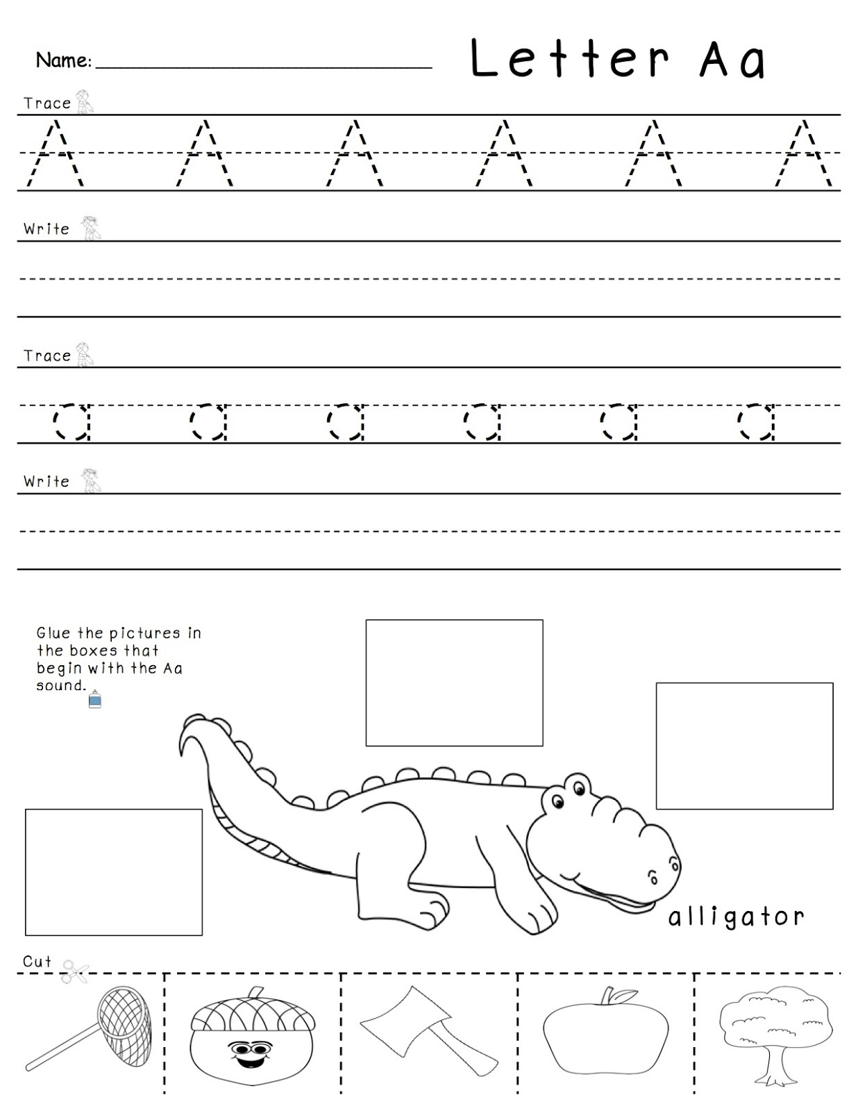 Printables Letter A Worksheets trace the letter a worksheets activity shelter alligator