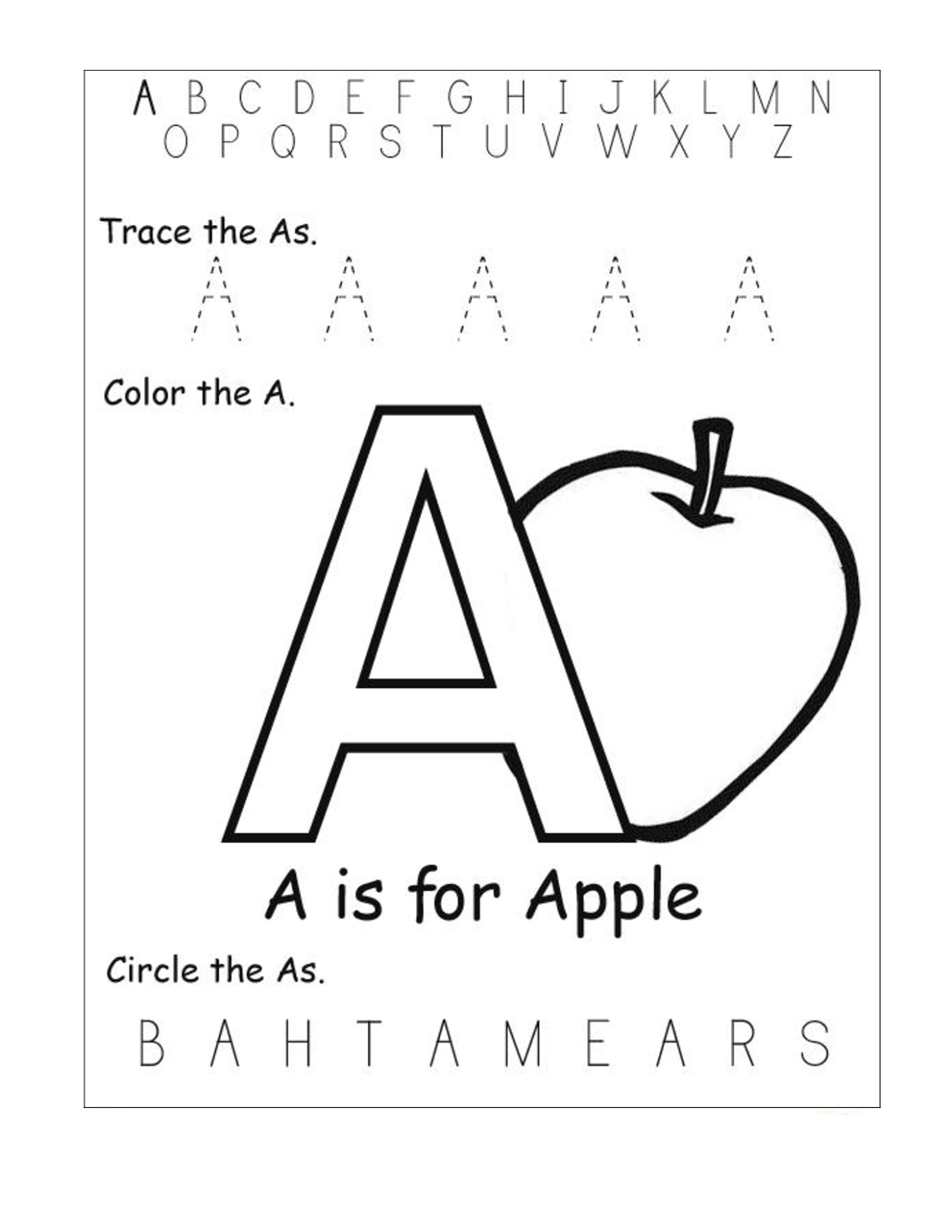 trace the letter a alphabet