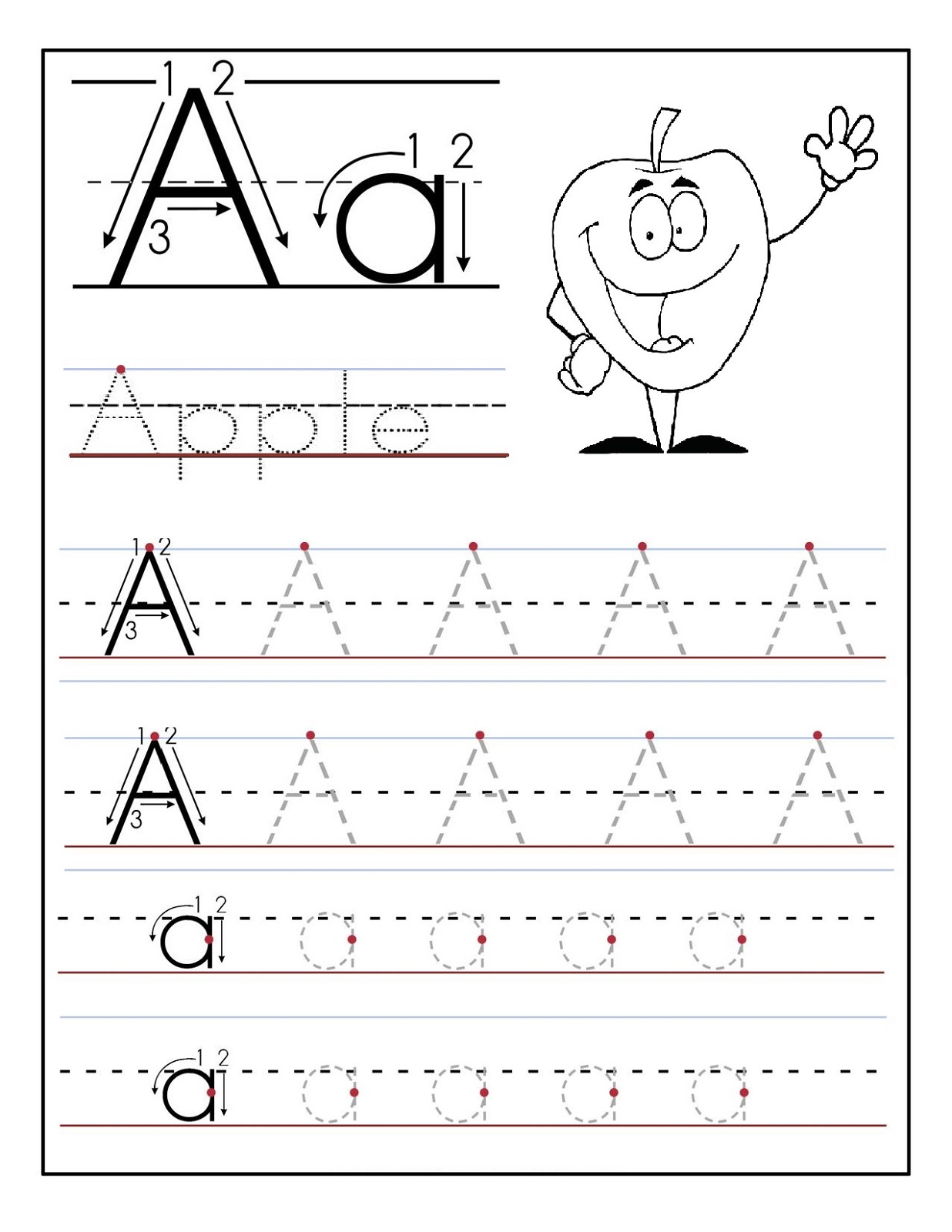 letter a tracing sheet trace the letter a worksheets activity shelter 17670 | trace the letter a apple