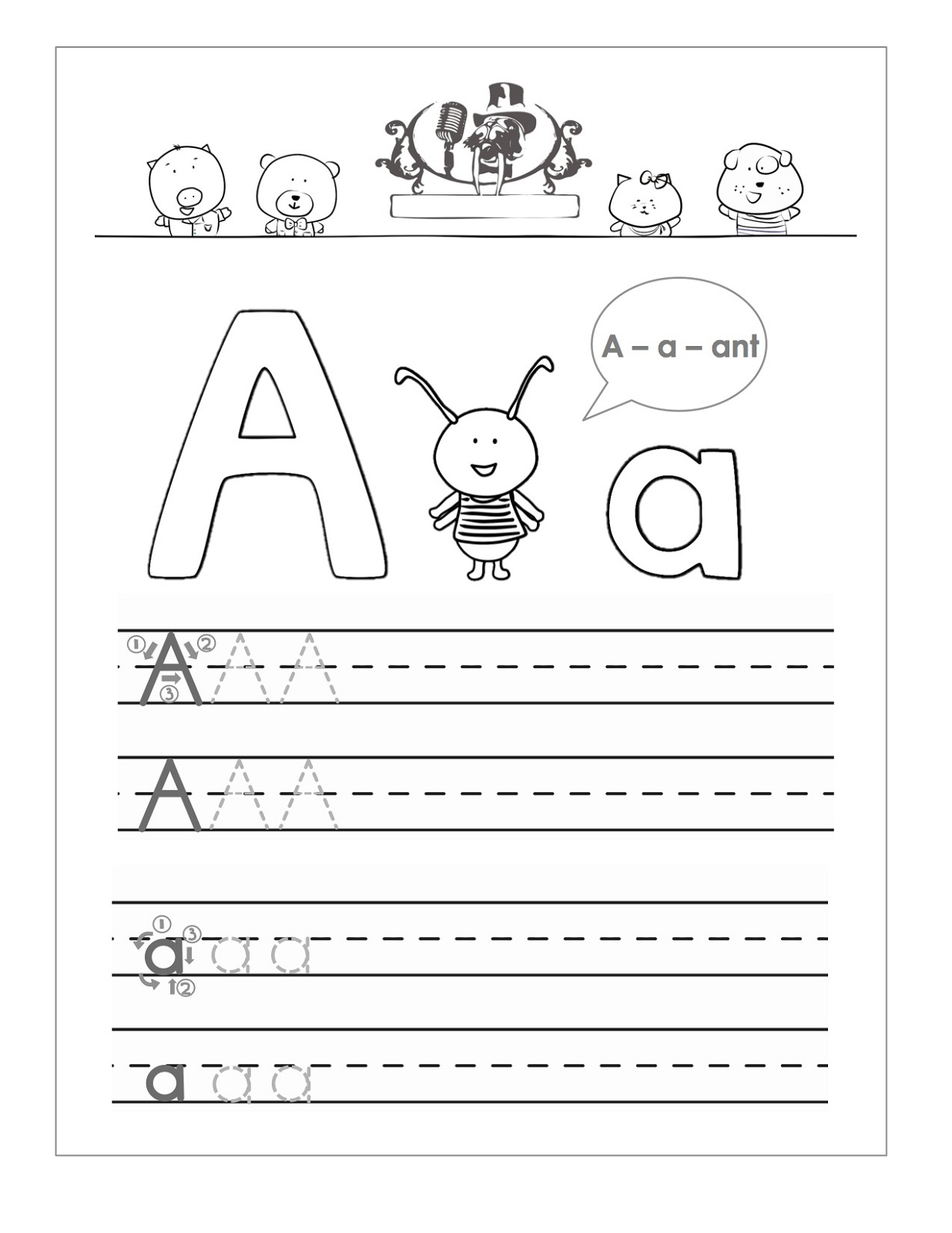 Trace the Letter A Worksheets | Activity Shelter