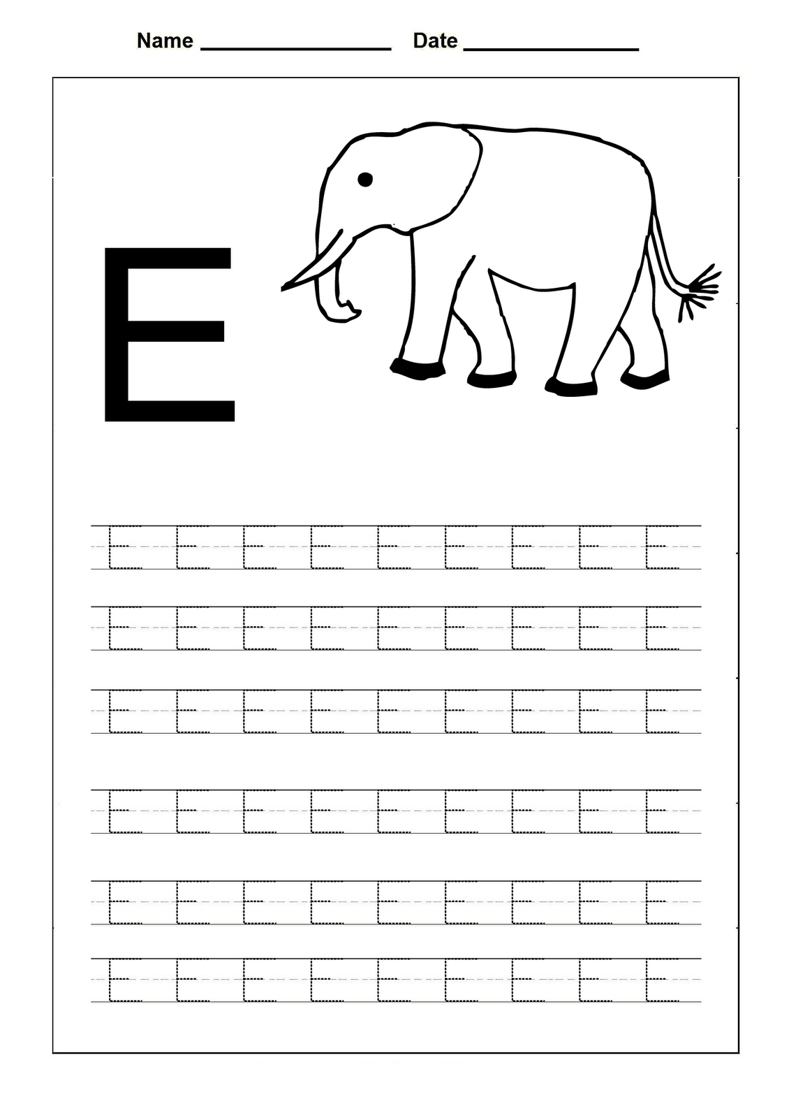 traceable letters worksheets elephant