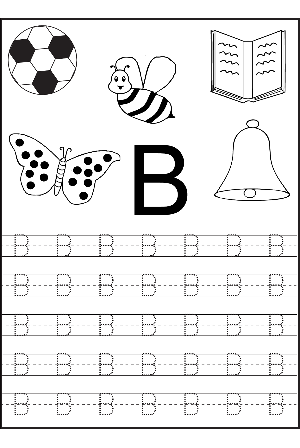 traceable letters worksheets letter B