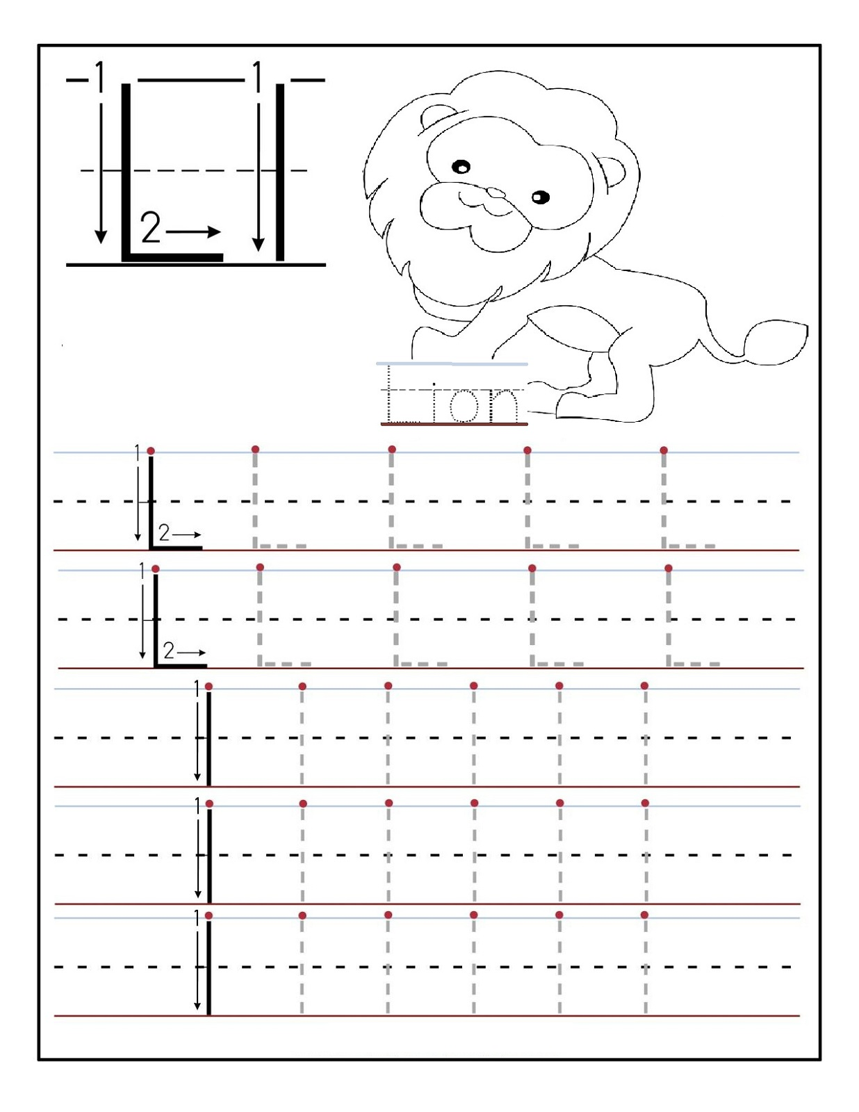 traceable letters worksheets lion