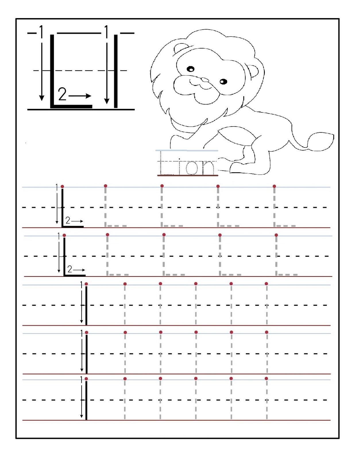 traceable letters worksheets lion