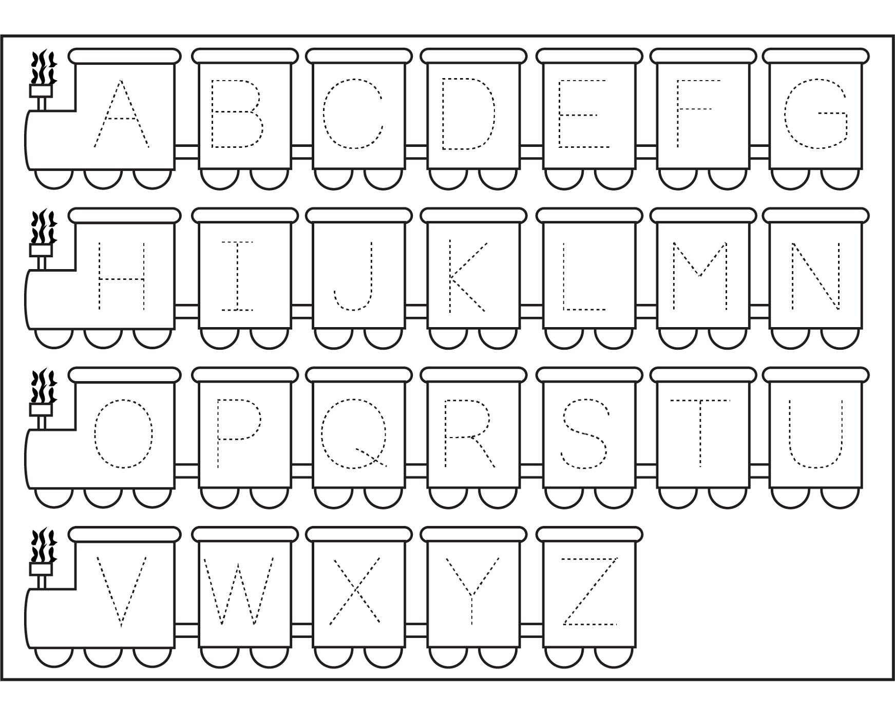 traceable letters worksheets train