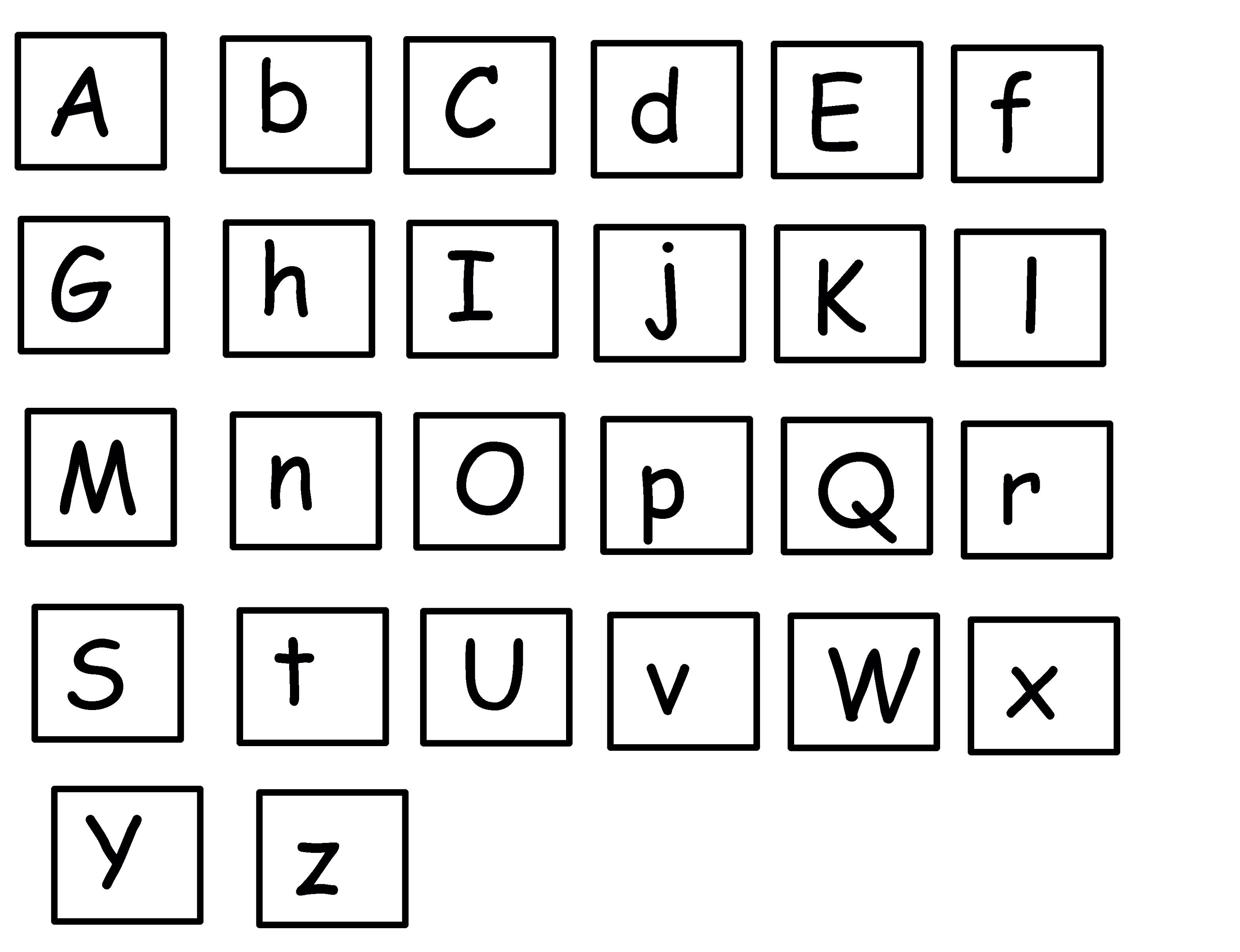uppercase and lowercase letters A-Z