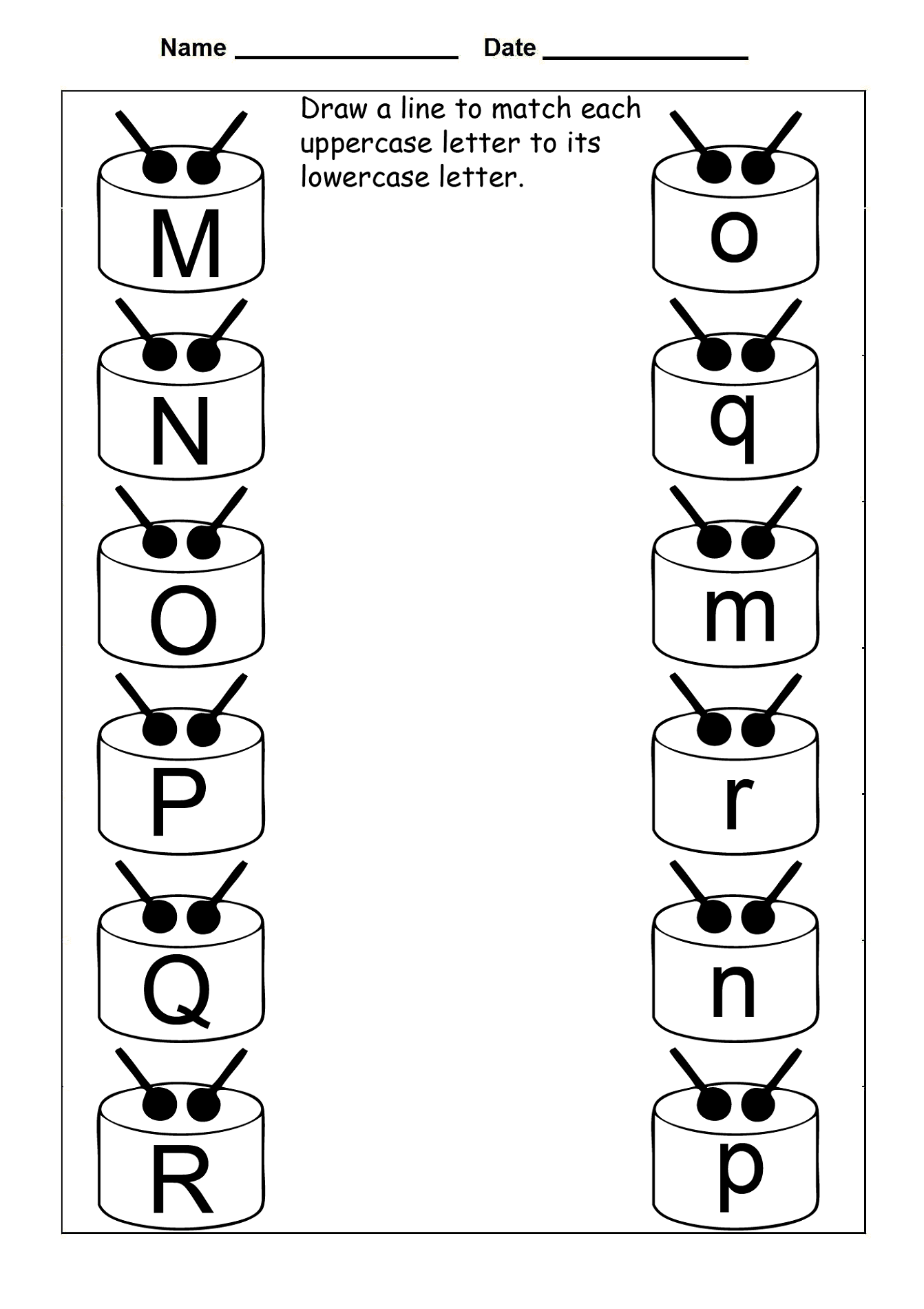 uppercase and lowercase letters for practice
