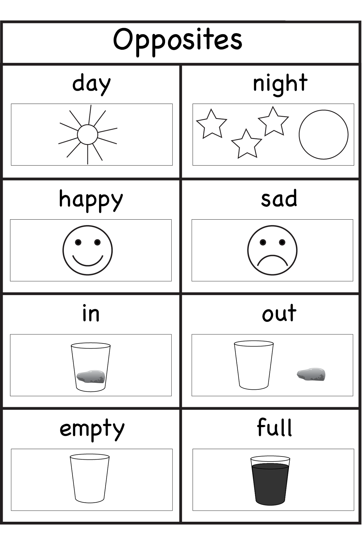 worksheets for 4 year olds opposites