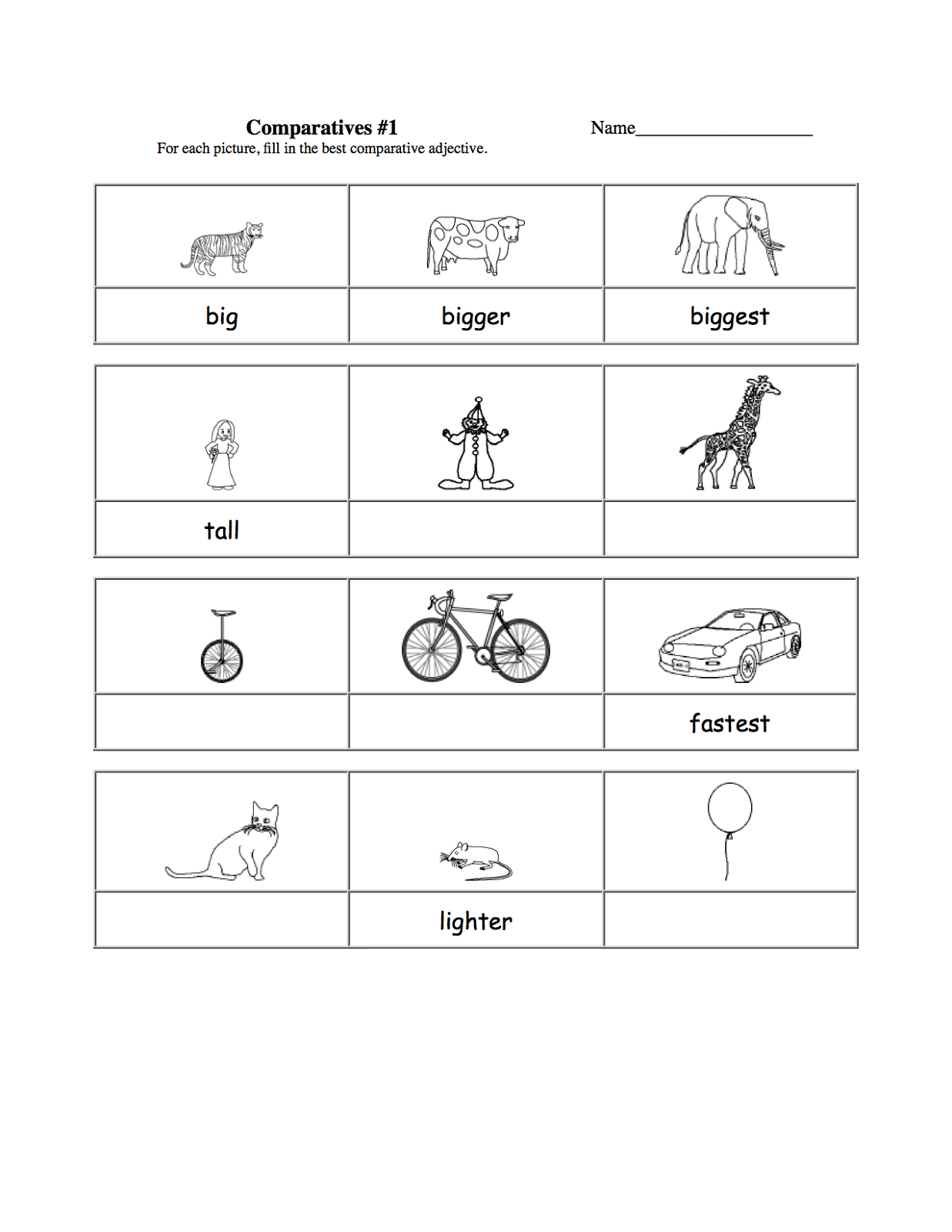 Worksheets for 5 Years Old Kids – Comparative Adjectives Worksheets