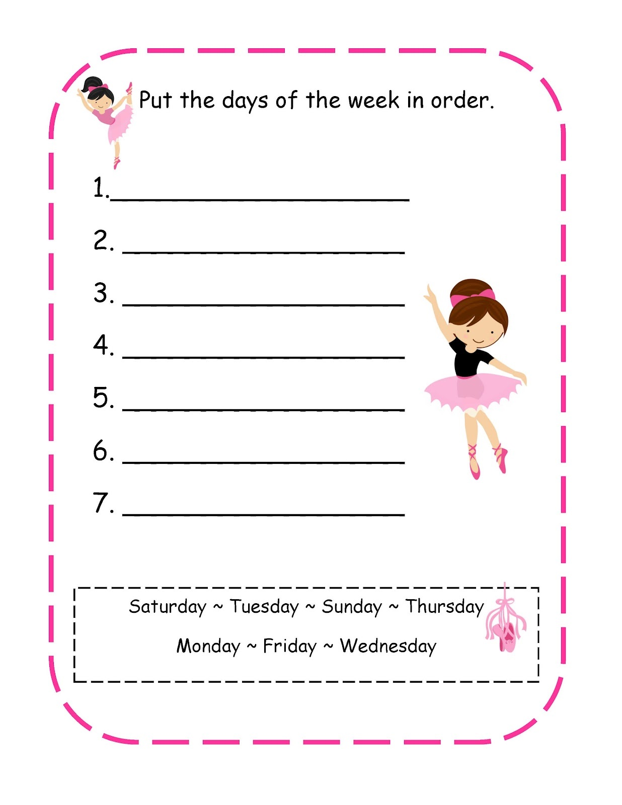 worksheets for days of the week arranging