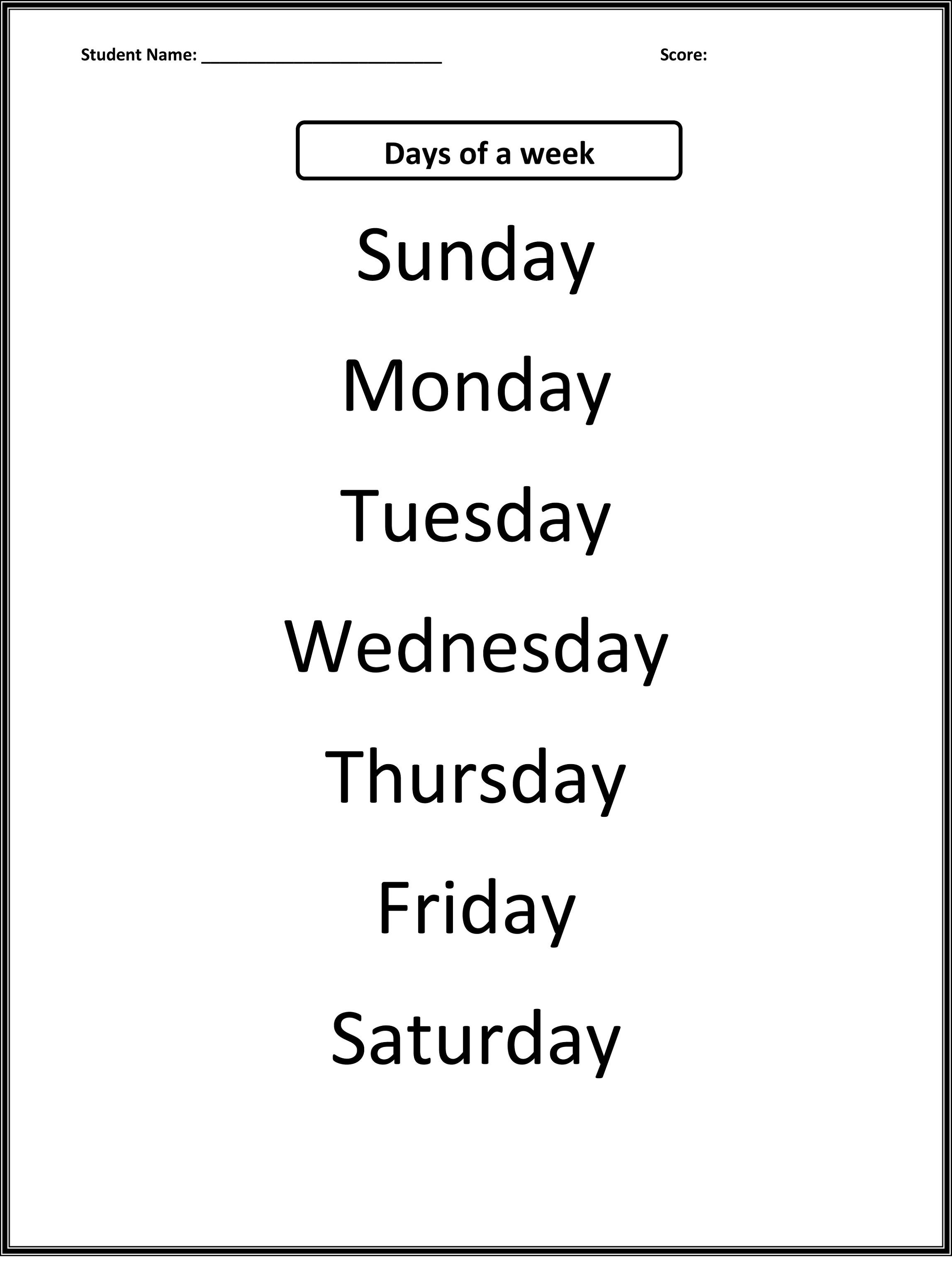 worksheets for days of the week activity shelter. Black Bedroom Furniture Sets. Home Design Ideas